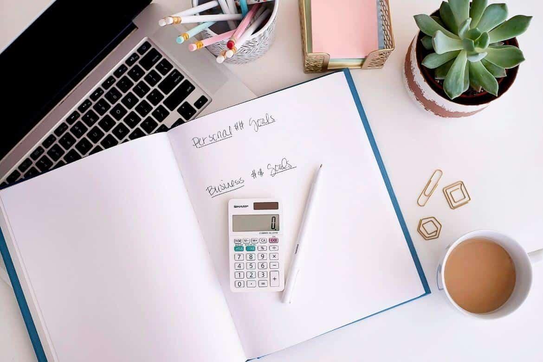desktop scene of budgeting planner for money goals