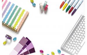 notebook, markers, keyboard